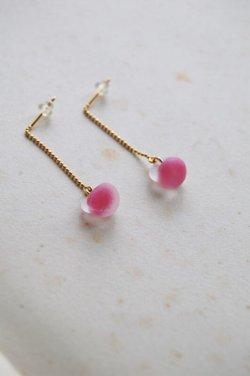 画像2: ガラスビースのピアス -pink-